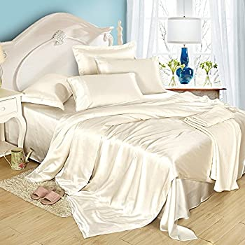 LILYSILK 4Pcs Silk Bedding Sheets Flat Sheet Fitted Sheet Oxford Pillowcases Set 19 Momme Pure Silk Ivory King