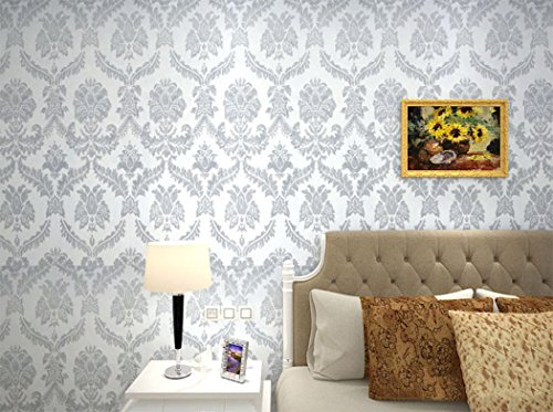 Amazon.com: F&U Peel and Stick Damask Design Wallpaper PVC Contact Paper Drawer Shelf Liner for Home Wall Art Decal (23.4x169Inch,Grey): Home & Kitchen