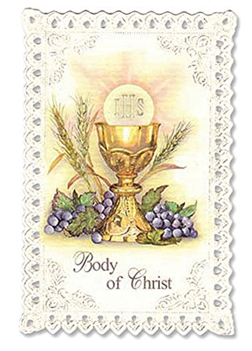 Chalice & Grapes First Communion Lace Holy Card Printed on Italian Cardstock That Is Adorned with a Punch Lace Border. Pieces/pkg: 24
