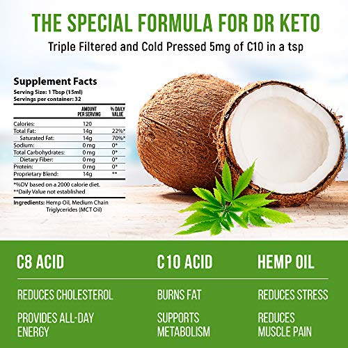 Keto MCT Oil With Hemp Extract. Diet Stress and Anxiety Relief by Triple Filtered and Cold Pressed C8 and C10 MCT Coconut Oil. Paleo and Vegan Friendly. Made in USA.