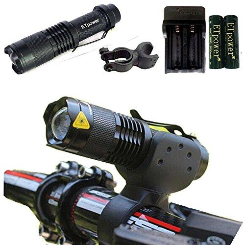 ETpower Mini XM-L T6 LED Bike Bicycle Front HeadLight HeadLamp Torch Flashlight + 2 x 18650 3.7v 3000mAh Battery + 1 x AC charger + 1 x Flashlight Mount - Xml T6 Led Bike