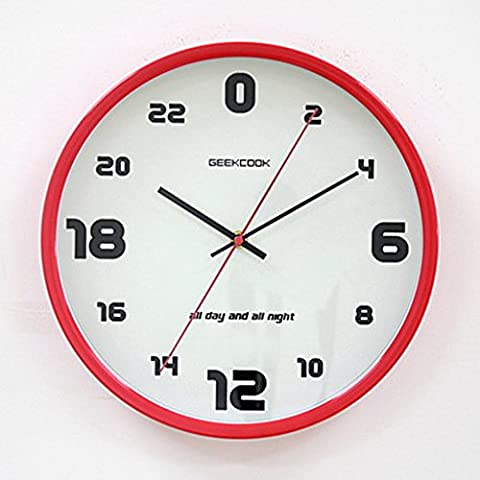 WerFamily GEEKCOOK 24-hour Wall Clock, 12-Inch, Silent Non-ticking, White Dial / Round Red Metal (24 Hour Dial Clock)