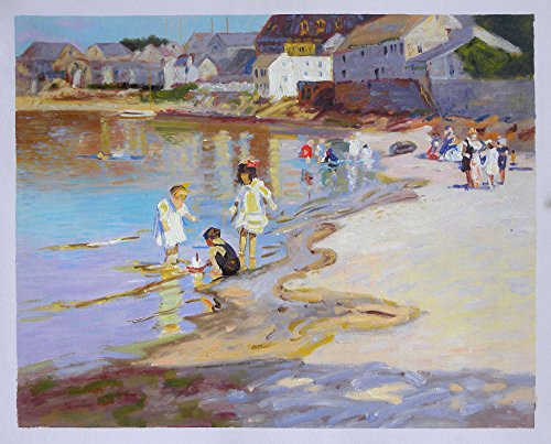 At the Beach - Edward Potthast hand-painted oil painting reproduction,Children Playing on Riverbank,living room impressionist wall art decor (20 x 25.5 in.) by Edward Henry Potthast