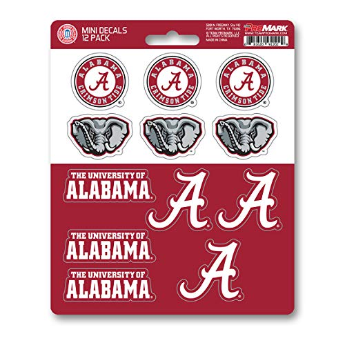 ProMark NCAA Alabama Crimson Tide Decal Set Mini (12 Pack), Team Color, One Size