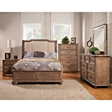 Sleigh Bed in French Truffle Finish (Eastern King - 88.5 in. L x 79.5 in. W x 62 in. H)