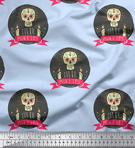 Soimoi Blue Georgette Viscose Fabric Text & Skull Halloween Printed Craft Fabric by The Yard 42 Inch Wide -