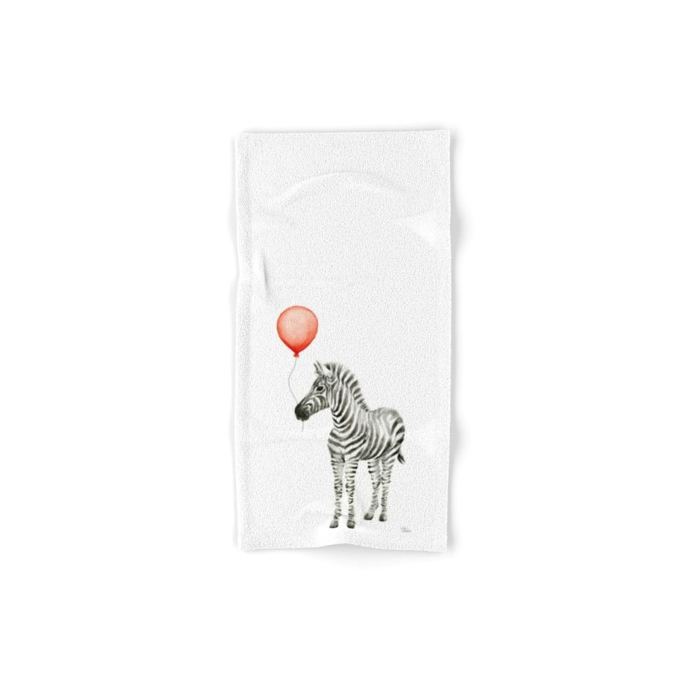 Society6 Baby Zebra Whimsical Animal With Red Balloon Nursery Art Set of 4 (2 hand towels, 2 bath towels)