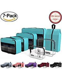 Packing Cubes Travel Organizer with Shoe Bag & 2 Toiletry Bags (7-Pcs)