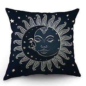 Moslion Sun Moon Pillows Decorative Throw Pillow Cover Moon Kiss The Sun Star Pillow Case 18x18 Inch Cotton Linen Square Cushion Cover for Sofa ...