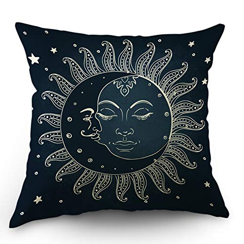 (Moslion Sun Moon Pillows Decorative Throw Pillow Cover Moon Kiss The Sun Star Pillow Case 18x18 Inch Cotton Linen Square Cushion Cover for Sofa Bedroom Blue)