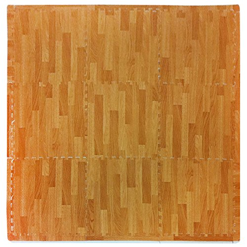 Playmat Set Safe - Tadpoles Soft EVA Foam 9 Piece Playmat Set, Wood Print, Natural Wood, 38x38
