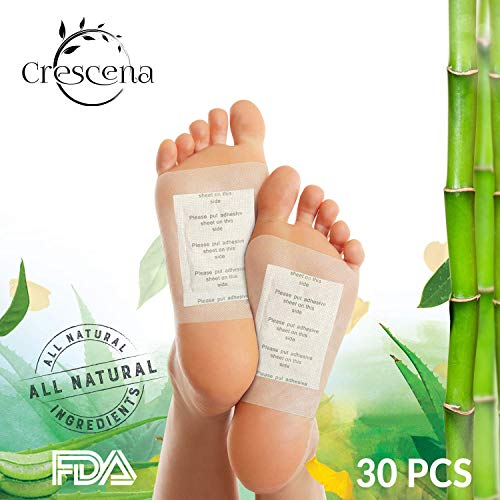 Crescena Bamboo Vinegar Foot Pads | Remove Impurities - Cleansing | 30 Piece Patch | Aids in Relieving Stress and Tension | Reduce Foot Odor | Pain Relief | All-Natural - Pad Foot Remove Toxins
