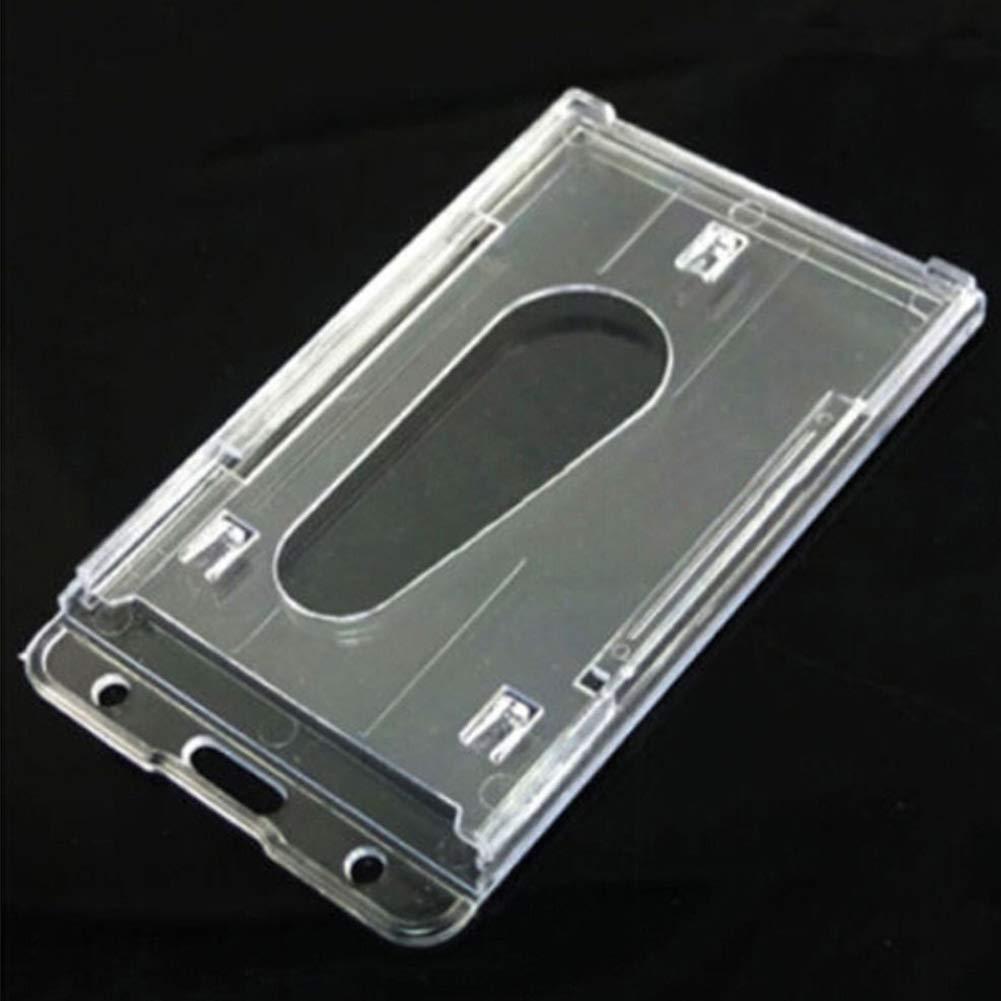 Porta tessere da lavoro Doppio lato Durevole Pratico portadocumenti portatile multiuso Custodia rigida in plastica trasparente