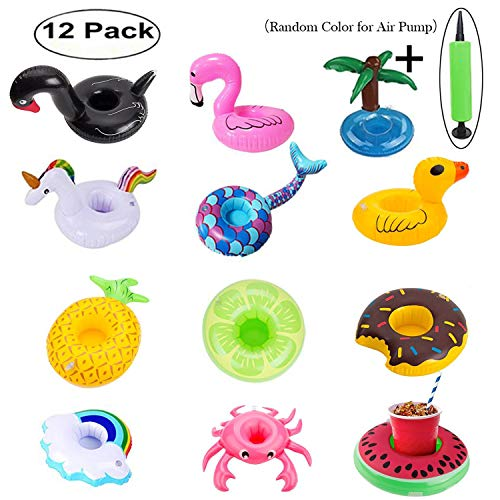 KingYue Inflatable Drink Holders, Floats Inflatable Cup Coasters for Summer Pool Party and Kids Bath Toys (12 Packs with a Air Pump)