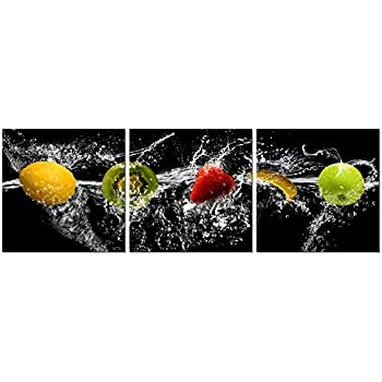 Pyradecor Dancing Fruit Modern Landscape Artwork 3 Panels Giclee Canvas Prints on Stretched and Framed Canvas Wall Art Décor for Living Room Home Decorations