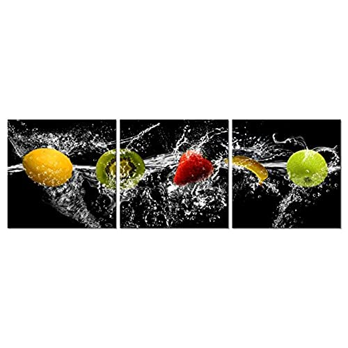Pyradecor Dancing Fruit Modern Landscape Artwork 3 Panels Giclee Canvas  Prints On Stretched And Framed Canvas Wall Art Décor For Living Room Home  ...