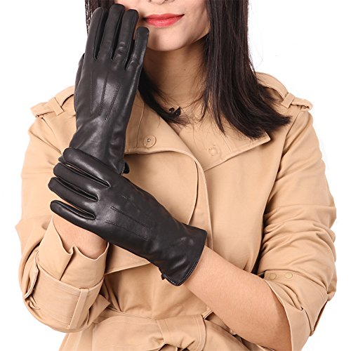 Womens Winter Leather Gloves, Color Inchoice Warm Cashmere Wool Lining Outdoor Sports Gloves(Black)