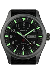 Glow in Dark INFANTRY Men's Sport Date Day Wrist Watch Army Military Police Black Nylon Gift