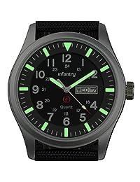 INFANTRY Men's Analog Quartz Aviator Wrist Watch Luminous Black Dial Nylon Band Silver case Calender