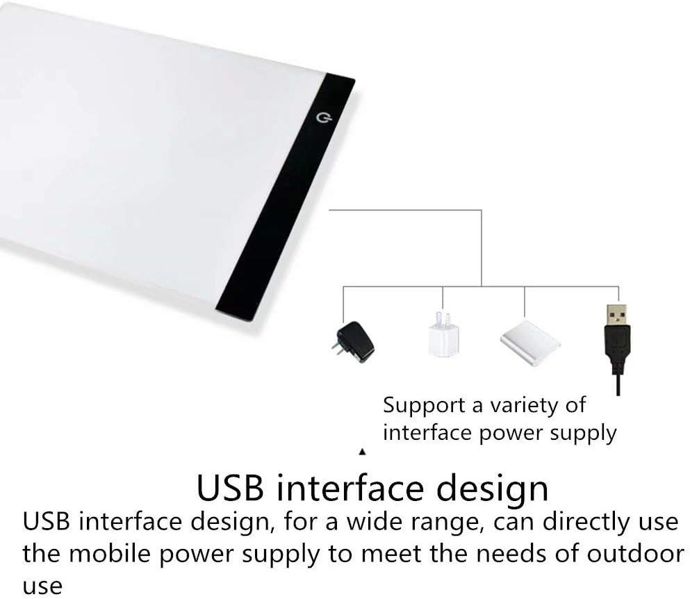 Schnitzen Zeichnen L/&HM LED A4 Leuchttisch Einstellbare Helligkeit Drei Arten von Helligkeit Leuchtkasten Leuchtplatte Zeichenbrett inkl Planung Aniamtion Skizzierung Netzteil USB Kabel Tatoo