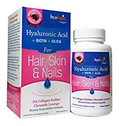 Hyalogic Hair Skin and Nails - HA Collagen Builder - Beauty From Within Formula - 30 Chewable Lozenges