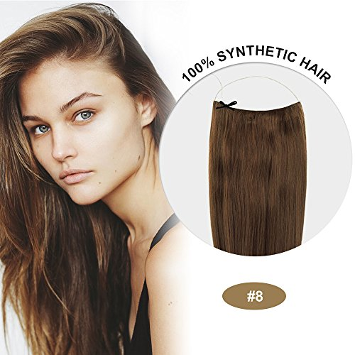 COCO Secret Extensions Ash Brown Hair Synthetic Hair Extensions Straight 20 Inches