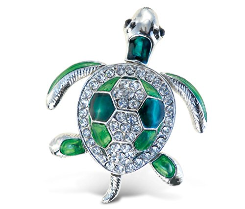 Puzzled Sea Turtle Refrigerator Sparkling Magnets with Crystals - Ocean/Sea Life Theme - Unique Affordable Gift and Souvenir - Item #7209