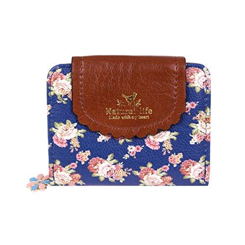 Damara Women PU Zipper Closure Flower Printed Flap Wallet,Navy Blue