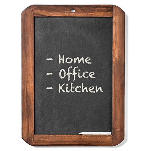 "al Wooden and Slate Portable Hanging Chalkboard for Wedding Baby Shower Restaurant Cafe Or Home 10"" x 14"". Comes Complete with Bonus Chalk. All by Markat International. (Genuine Slate)"