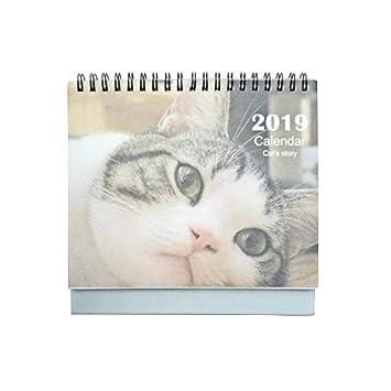 Eternitry 2019 Calendario de Escritorio Lindo Gato Mesa Impresa Memo Programa Planificador Calendarios Pasar página Decoración de Oficina en casa Gráfico de ...