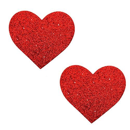 Neva Nude Ravish Me Red Glitter I Heart U Nipztix Pasties Nipple Covers
