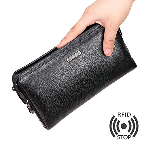 Mens Genuine Leather Business Clutch Handbags Anti-Theft Men Wallet Cowhide Leather Purse SAJOSE