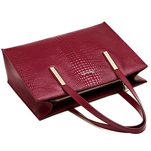 wine for shoulder BOSTANTEN Crossbody Red Purses Leather 17 Genuine Handbag Bags Tote Women 88IUwPBq