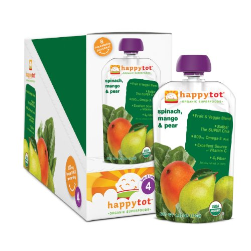 Счастливый Малыш Органические детского питания, Стадия 4, шпинат, манго и груши, 4,22 унций. Чехлы (в упаковке 16)