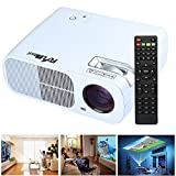 Home Theater Projector, HD LED Video 2600 Lumens Mini Projector Support 1080P Home Cinema for PC Laptop iPad Smartphone USB SD HDMI - White