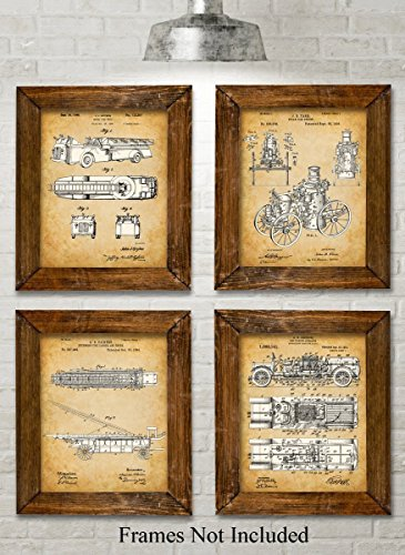 Fighter Art - Original Fire Fighter Patent Art Prints - Set of Four Photos (8x10) Unframed - Great Gift for Firefighters