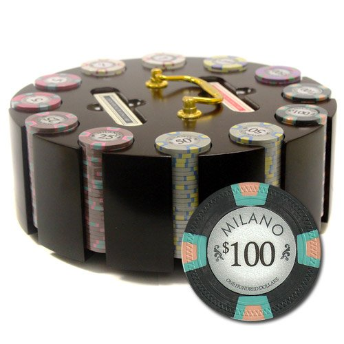 300 Ct Milano Poker Chip Set by Claysmith Gaming in Wooden Carousel