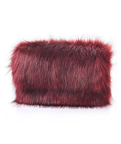 FLAP NIGHTS WOMENS CHAIN HANDBAG PARTY FUR NEW Burgundy FAUX CLUTCH STRAP ZIP OUT FASHION zXBzHw