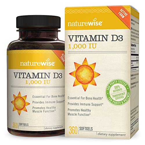NatureWise Vitamin D3 1,000 IU for Healthy Muscle Function, Bone...