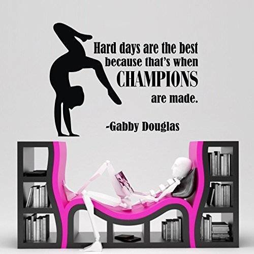 Sports Item Wall Stickers - Design with Vinyl CK-NJ-2355-OADR-29 Decor Item Gymnastic Girls Sports Quote Champions Bedroom Vinyl Wall Decal Sticker, 10-Inch x 14-Inch, Black