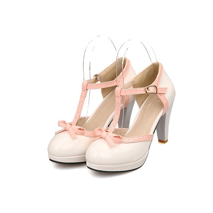 70b8b948054a ... Fashion T Strap Bows Women s Platform High Heel Pumps Shoes pastel goth  black pink white creepy