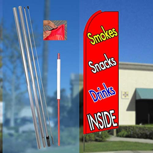 Smokes Snacks Drinks Red Flutter Feather Flag Bundle 11.5 Tall Flag, 15 Tall Flagpole, Ground Mount Stake