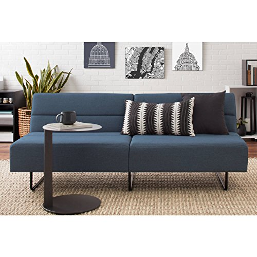 Easy to Assemble, Modern and Comfortable Sleeper with 3 Position Click-clack Technology Sofa Bed, Blue (Upholstered Sleeper Chair)