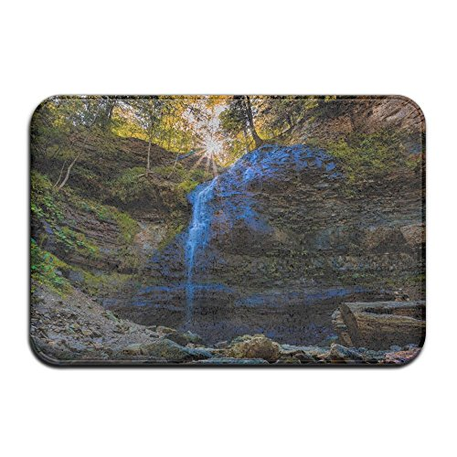 YangPa Waterfall Rock Forest Sun Ray Spring Outdoor Rubber Mat Front Door Mats Porch Garage Large Flow Slip Entry Carpet Standard Rug Home 23.62