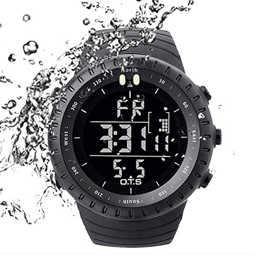 PALADA Men's All Black Sports Digital Wrist Watch Electronic Quartz Movement Military Time LED Backlight Watches for Men