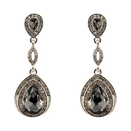 295-GRAY CHARCOAL Fashion Party & Wedding Jewelry Tear Drop Dangle Chandelier Alloy Rhinestone Earrings