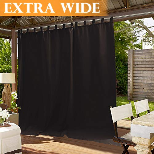 - RYB HOME Extra Wide 100 inch Outdoor Panel, Waterproof Curtain Outside Décor for Sliding Glass Door/Patio Door/Corridor Blackout Drapery, 100