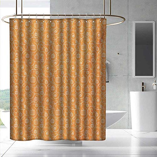 Fakgod Harvest Printed Pattern Shower Curtain Pattern with Pumpkin Leaves and Swirls on Orange Backdrop Halloween Inspired Shower Curtains in Bath W72 x L84 Orange White
