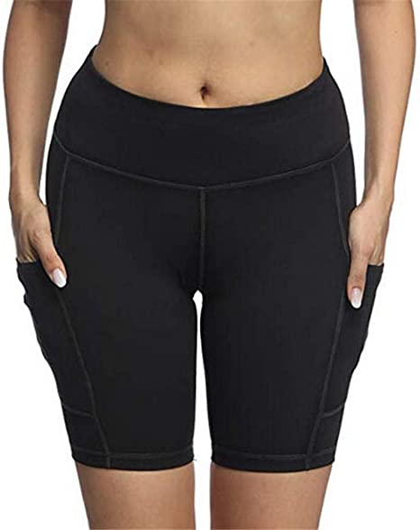 Shorts Women S Running Shorts With Pockets Yoga Shorts Gym Shorts For Women High Waist Tummy Control Fitness Tights Cycling Workout Shorts Black S Amazon Co Uk Clothing