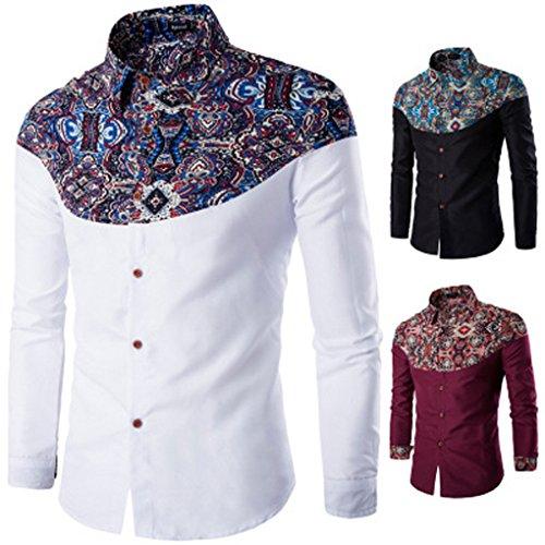 Mens Shirt,Haoricu Autumn Winter Elegant Men Fashion Printing Long Sleeved T-shirt For Work